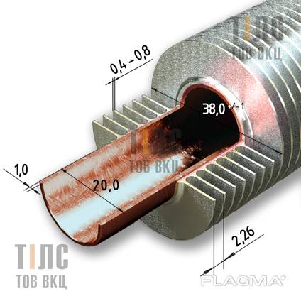 Copper Aluminum Ribbed Tube (finned pipe) 20x1x38
